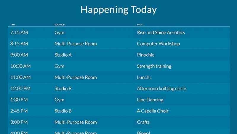 Senior Space screen display of 'Happening Today' schedule