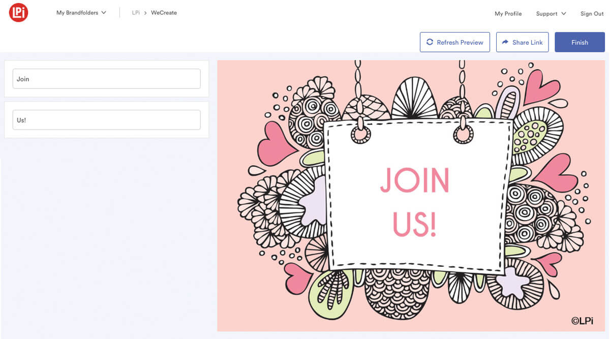 Customizable fields now say 'Join Us!'