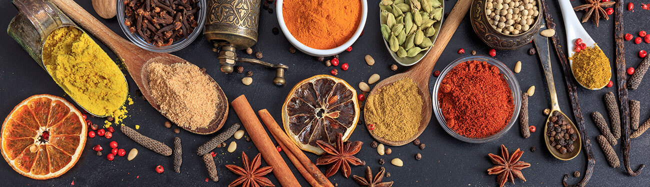 table full of spices